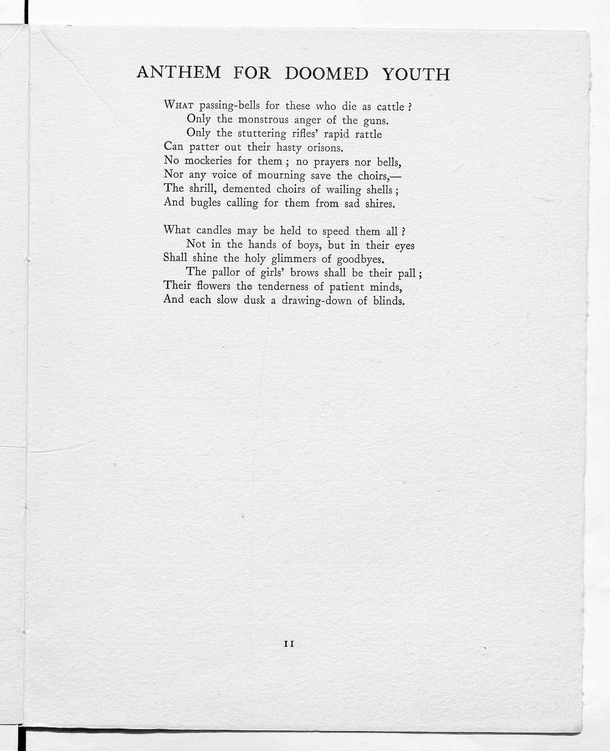 'Anthem for Doomed Youth' by Wilfred Owen, as published in 'Poems' (1920).