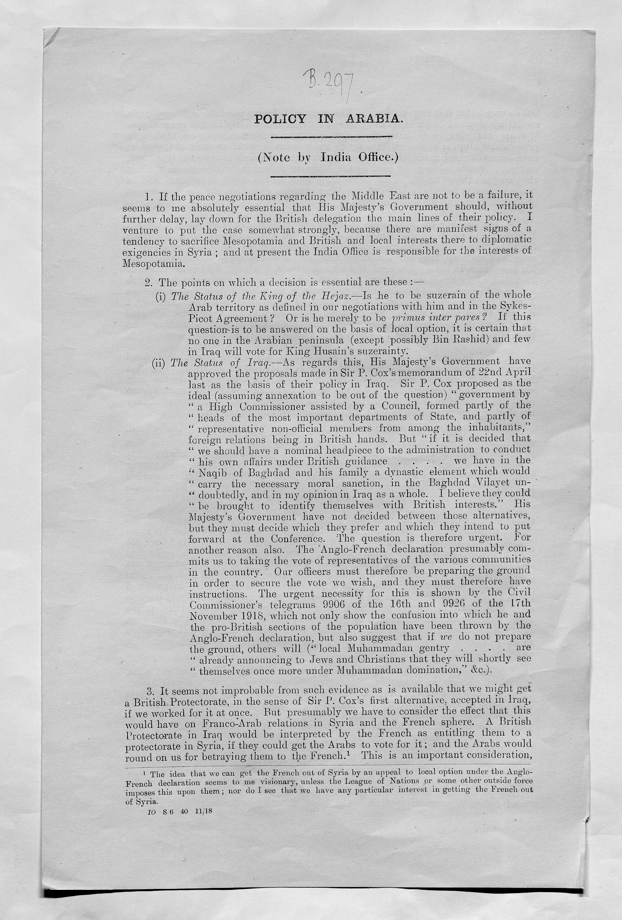 Note by senior India Office official, Sir Frederic Arthur Hirtzel, on the policy of the British Government regarding Syria and Mesopotamia (modern-day Iraq). 20 November 1918.