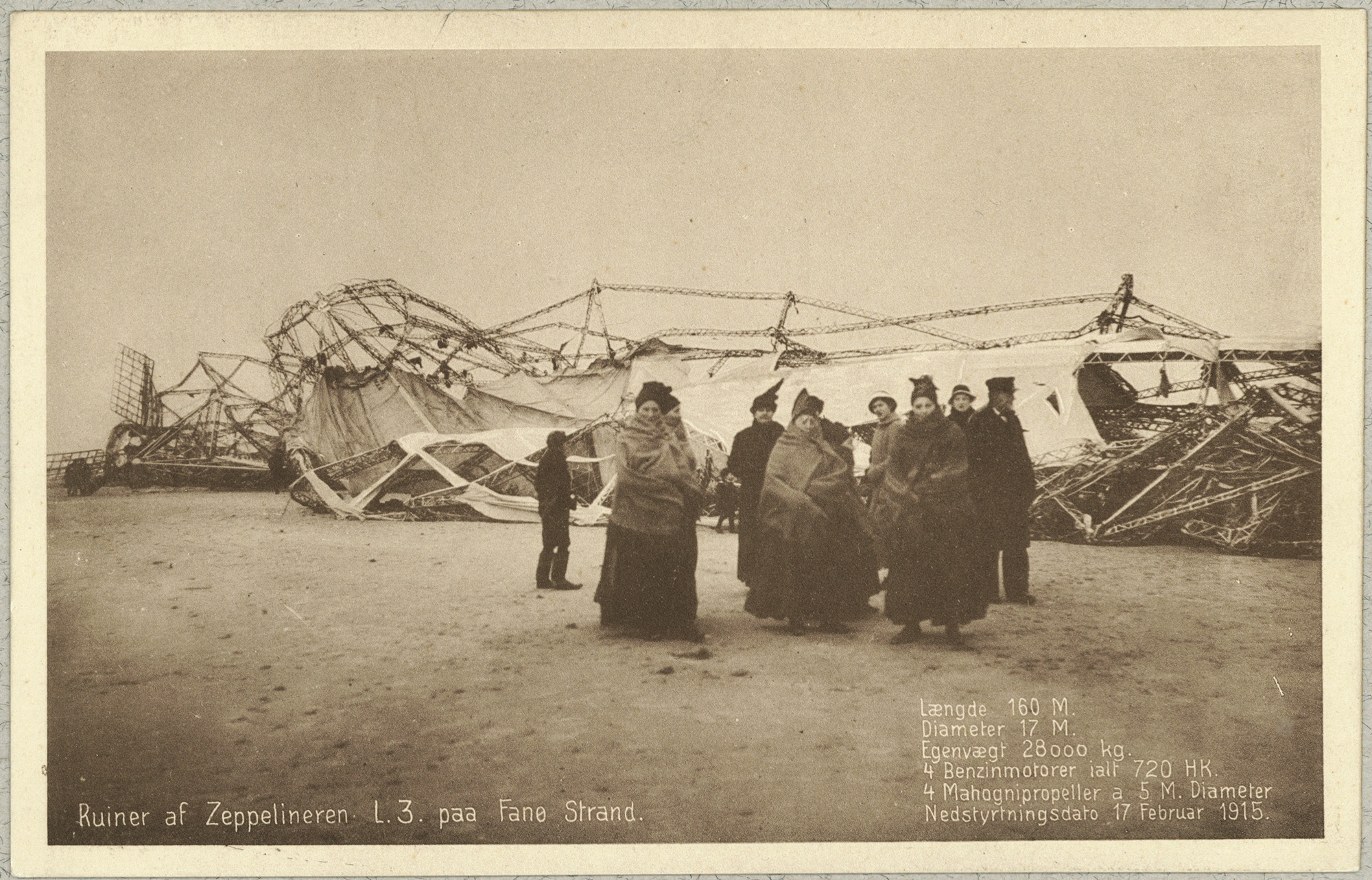 Postcard of  German zeppelin what crashed on Fanø