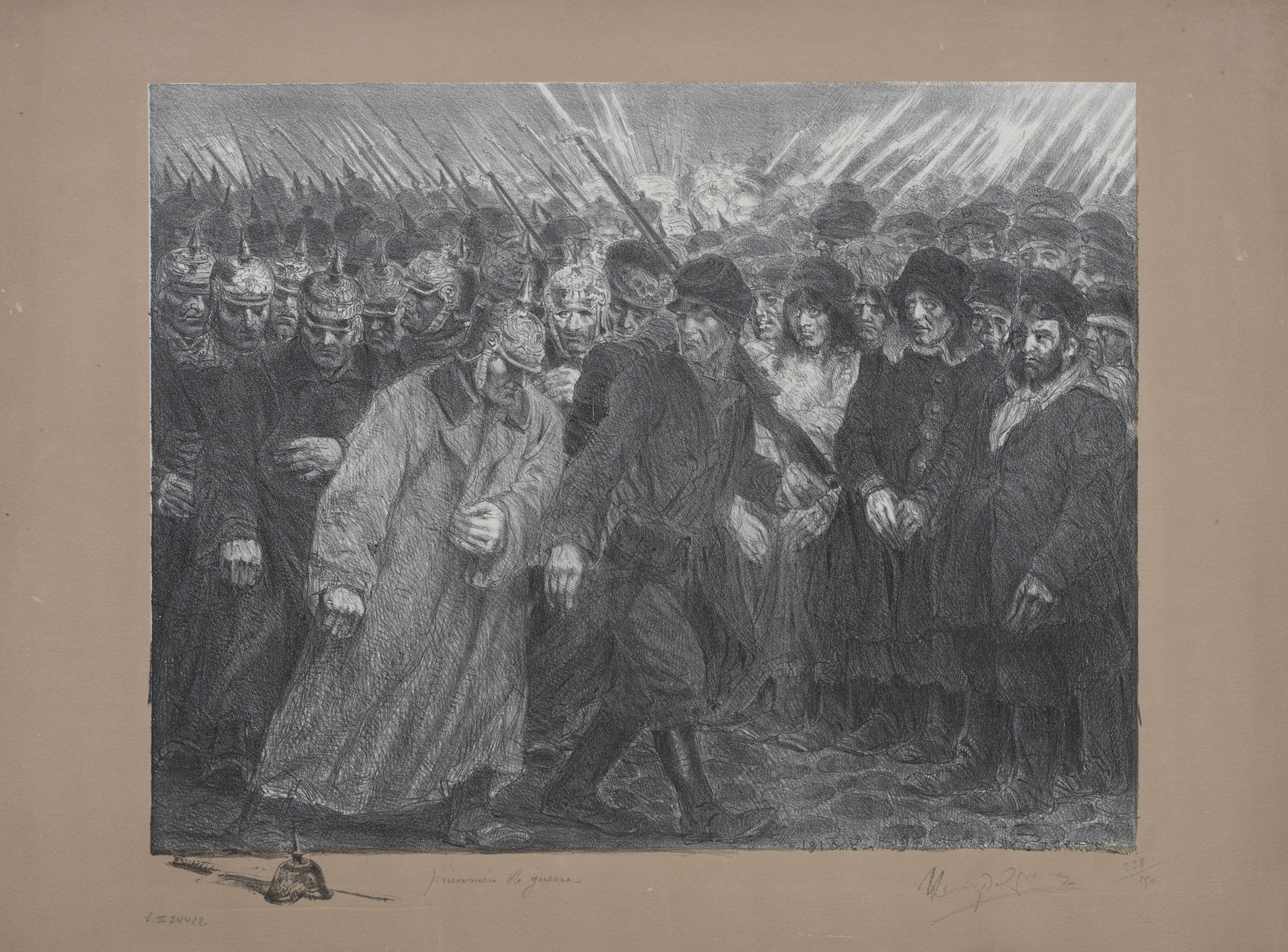 Lithograph showing prisoners of war, by Belgian symbolist painter and sculptor Henry de Groux (1886-1930).