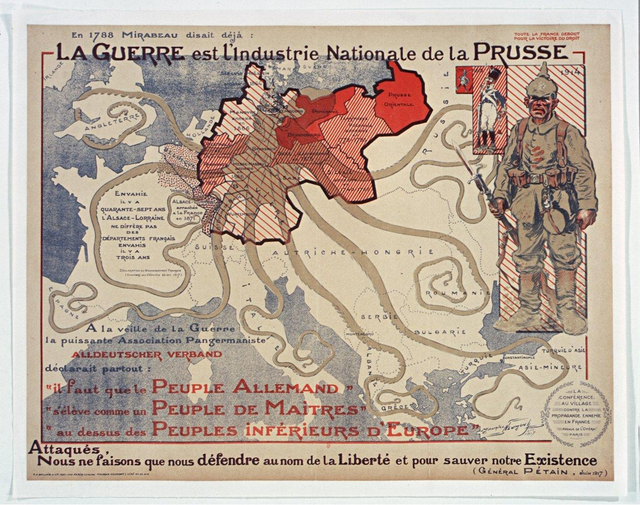 Propaganda map: the war is the national industry of Prussia