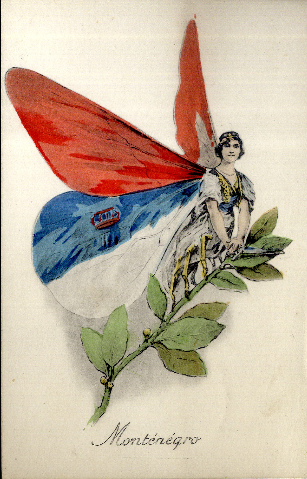 One of a set of French propaganda postcards in which the combatant countries are depicted as butterflies (for the Allies) and other insects (for the Central Powers).