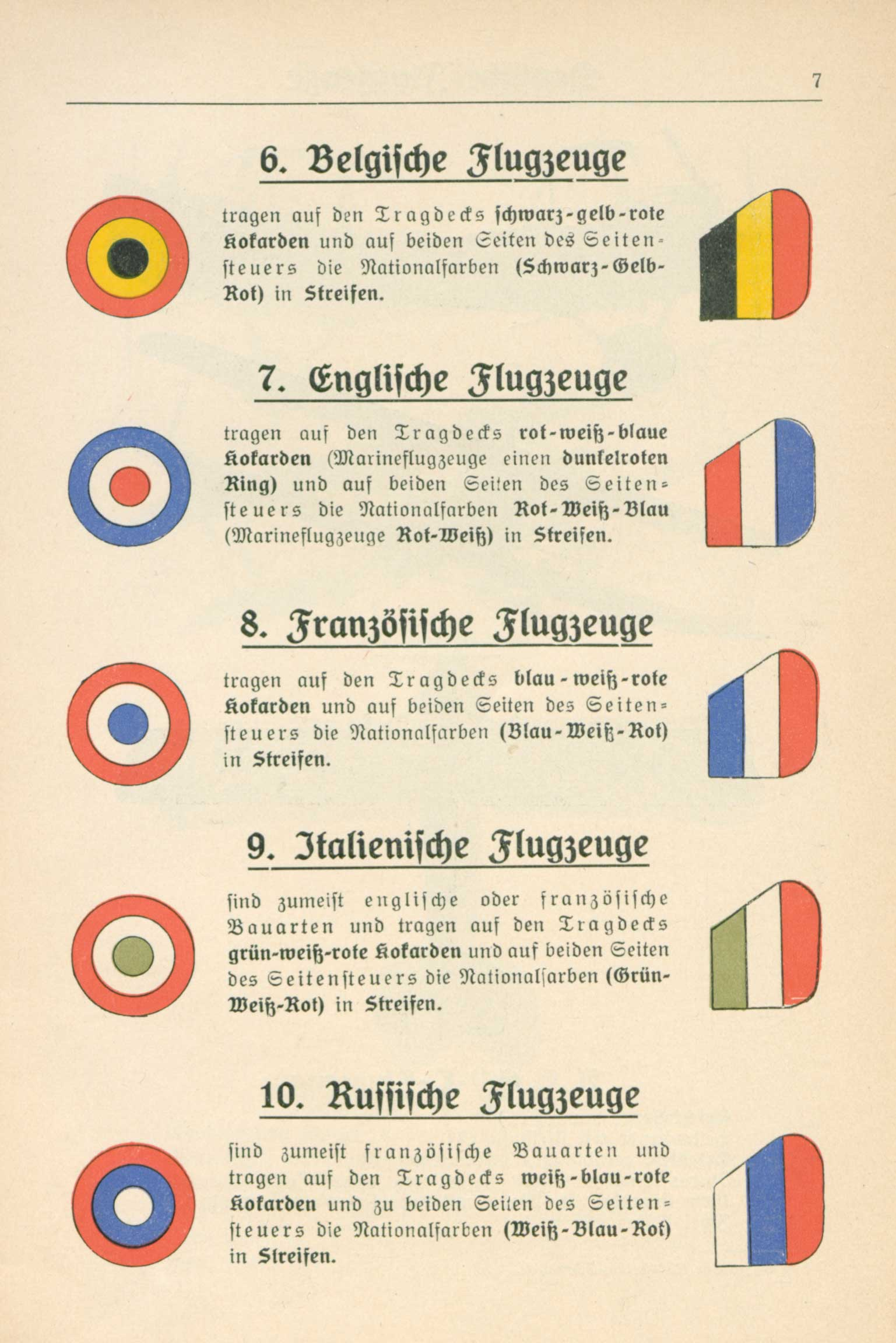 Illustrations of German and enemy aircraft