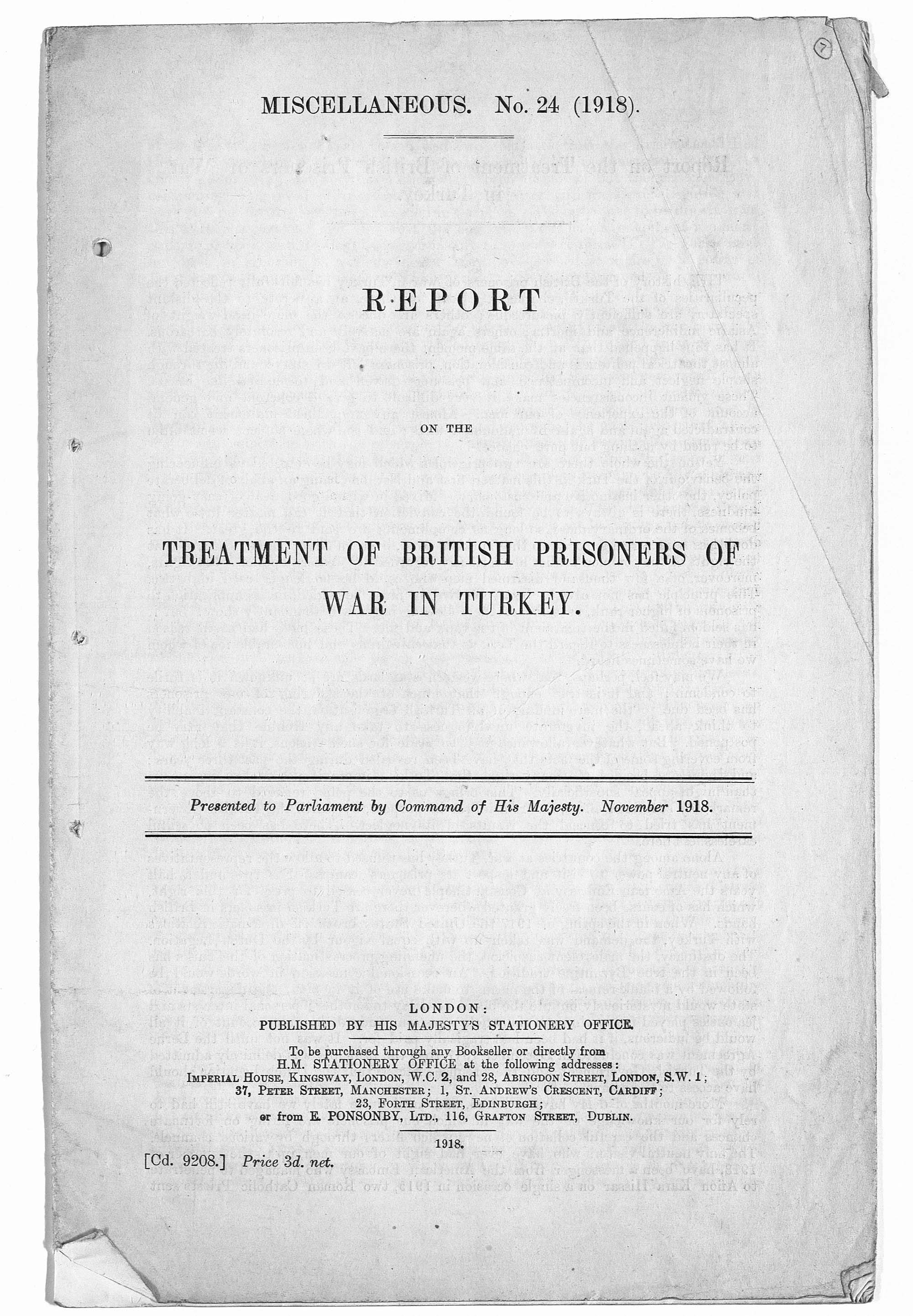 According to this report, 16,583 British and Indian officers and men were taken prisoner by Turkey during the war. Their welfare, and the conditions in which they were kept, were of great concern to the British and Indian Governments.