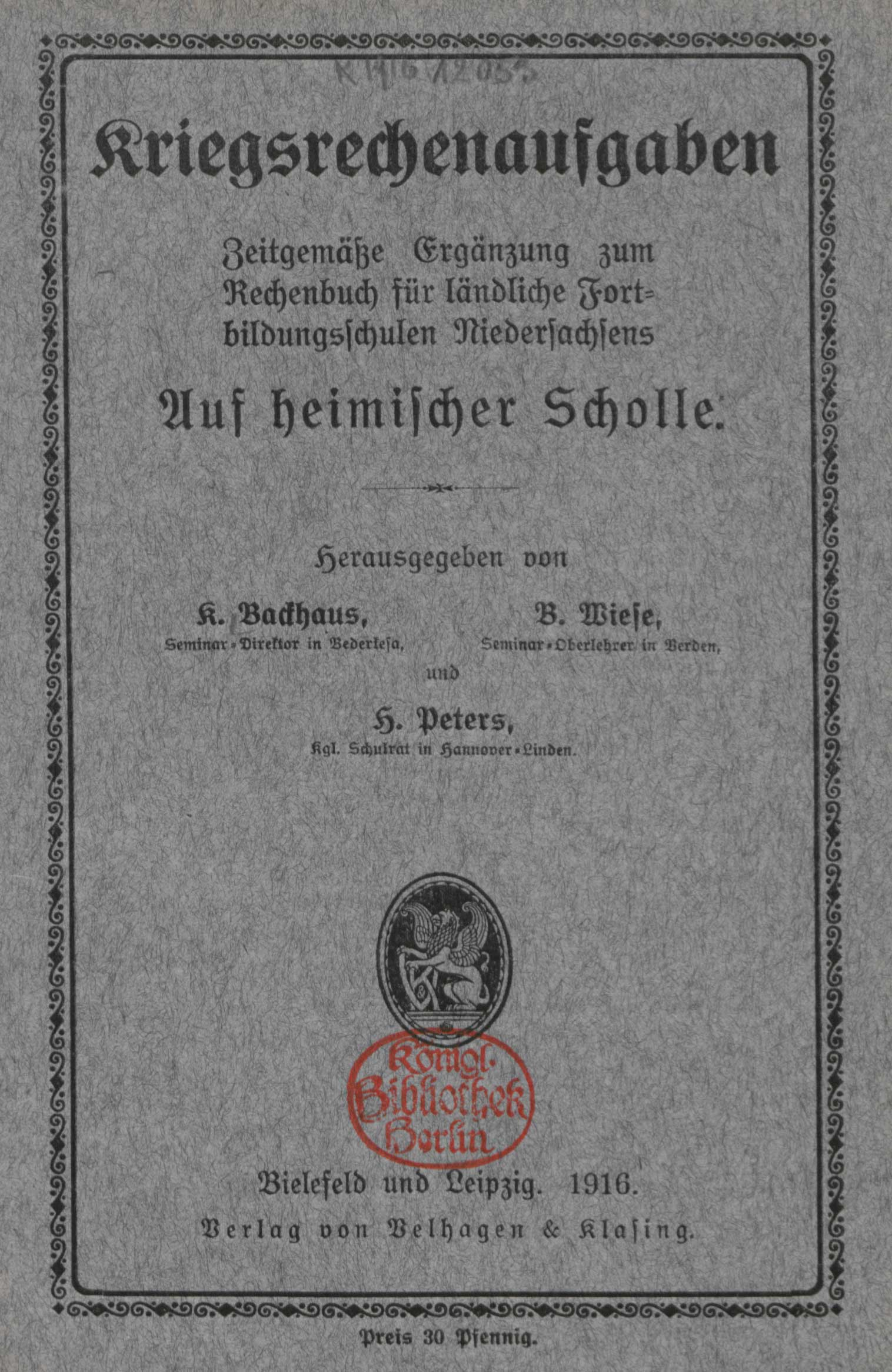 War calculation tasks: modern complement to the arithmetic book for rural training schools in Lower Saxony on native soil