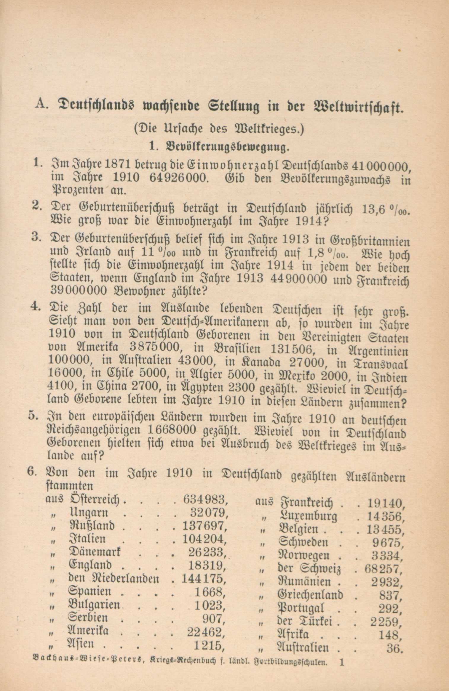 Maths problems from a German textbook. The problems contain statistics relating to the war, and require children to perform various calculations with them. Such questions helped to spread the idea of a powerful and successful Germany.