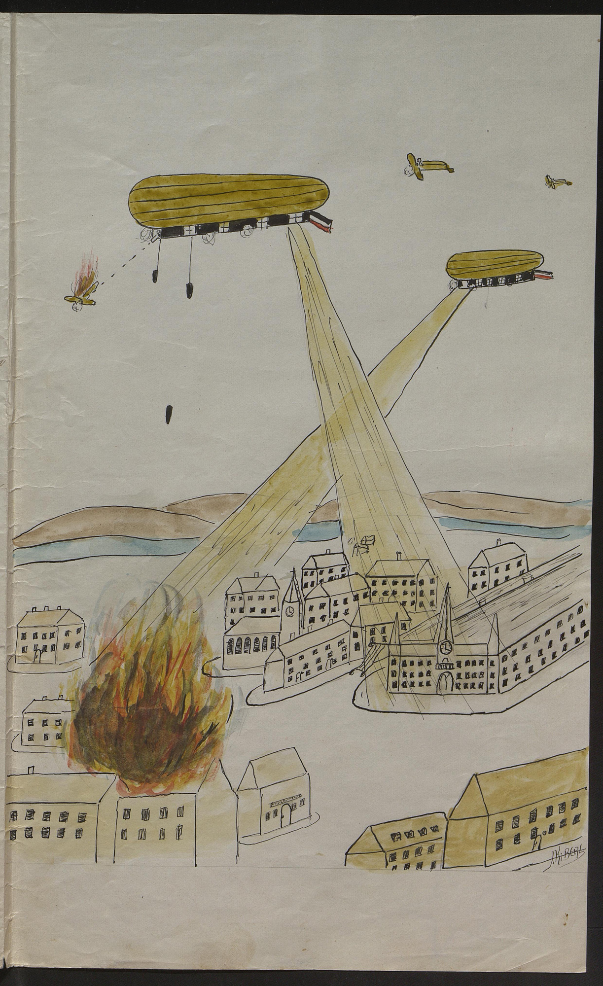 'How I made a nightly attack on London with my Zeppelin': story written and illustrated by a schoolboy, in which he imagines bombing London and returning to cheering crowds.