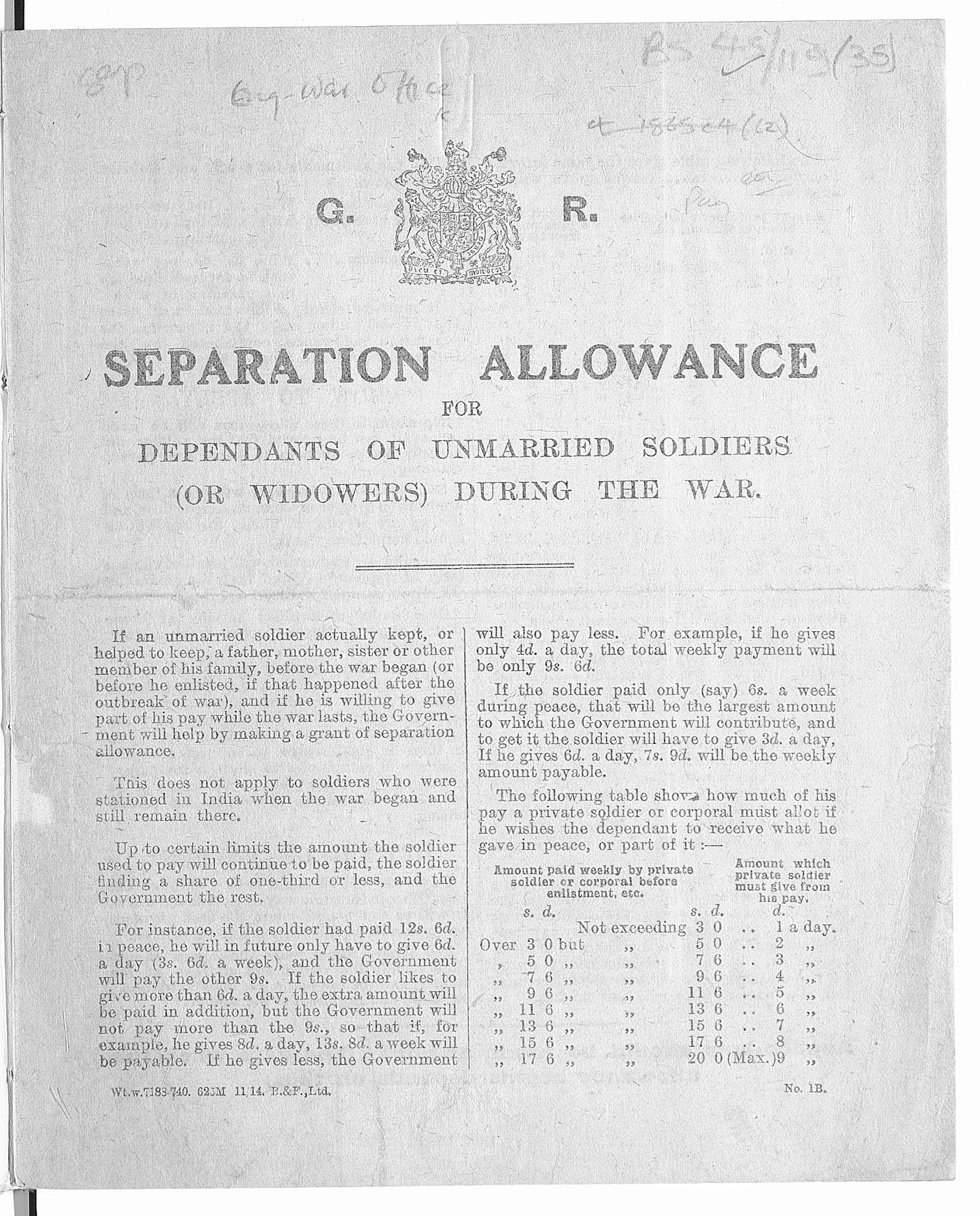 Separation allowance for dependents of unmarried soldiers, or widowers, during the war.