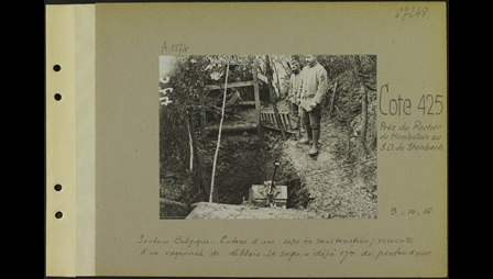 Photograph showing the construction of a sap (a deep and narrow trench used to undermine enemy positions) in the Belgian sector. 19 October 1916.