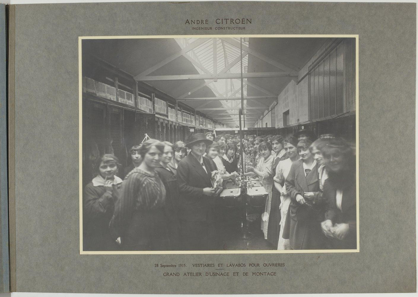 Photograph of female workers in a French shell factory, 28 September 1915.