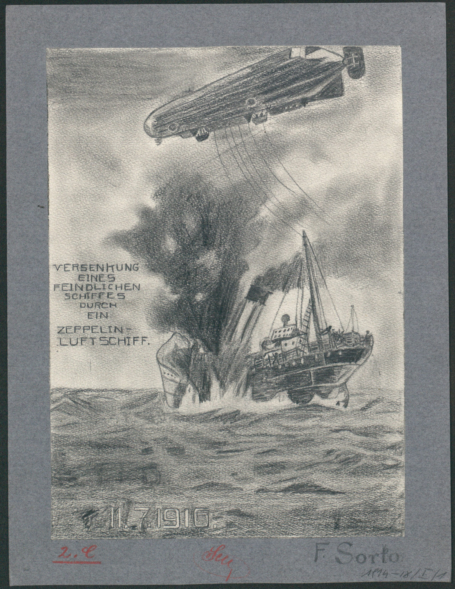 Childhood's drawing. The sinking of an enemy ship by a zeppelin airship