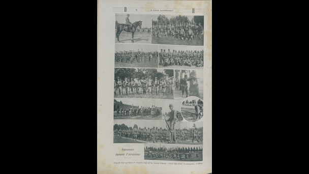 Photographs of training undertaken by cadet officers at the military academy in Modena, Italy, 18 July 1915.