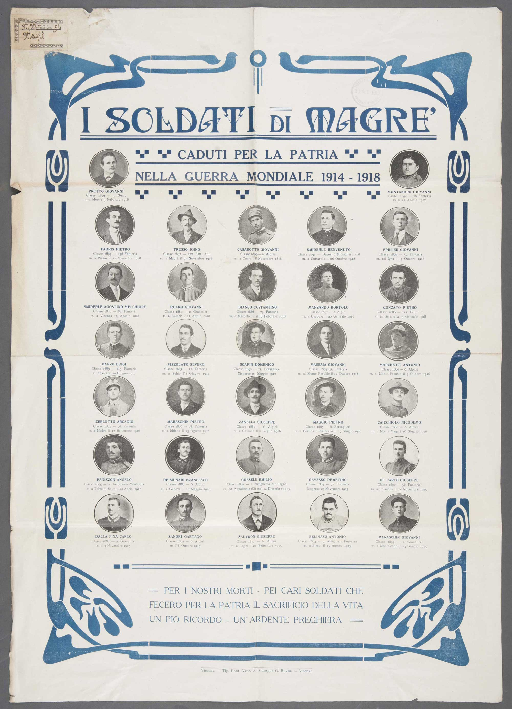 Soldiers of the Magre who fell for their country in the world war 1914-1918