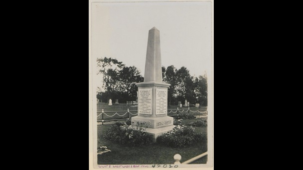Photograph of public memorial with carved list of names of fallen soldiers, Fort Frances