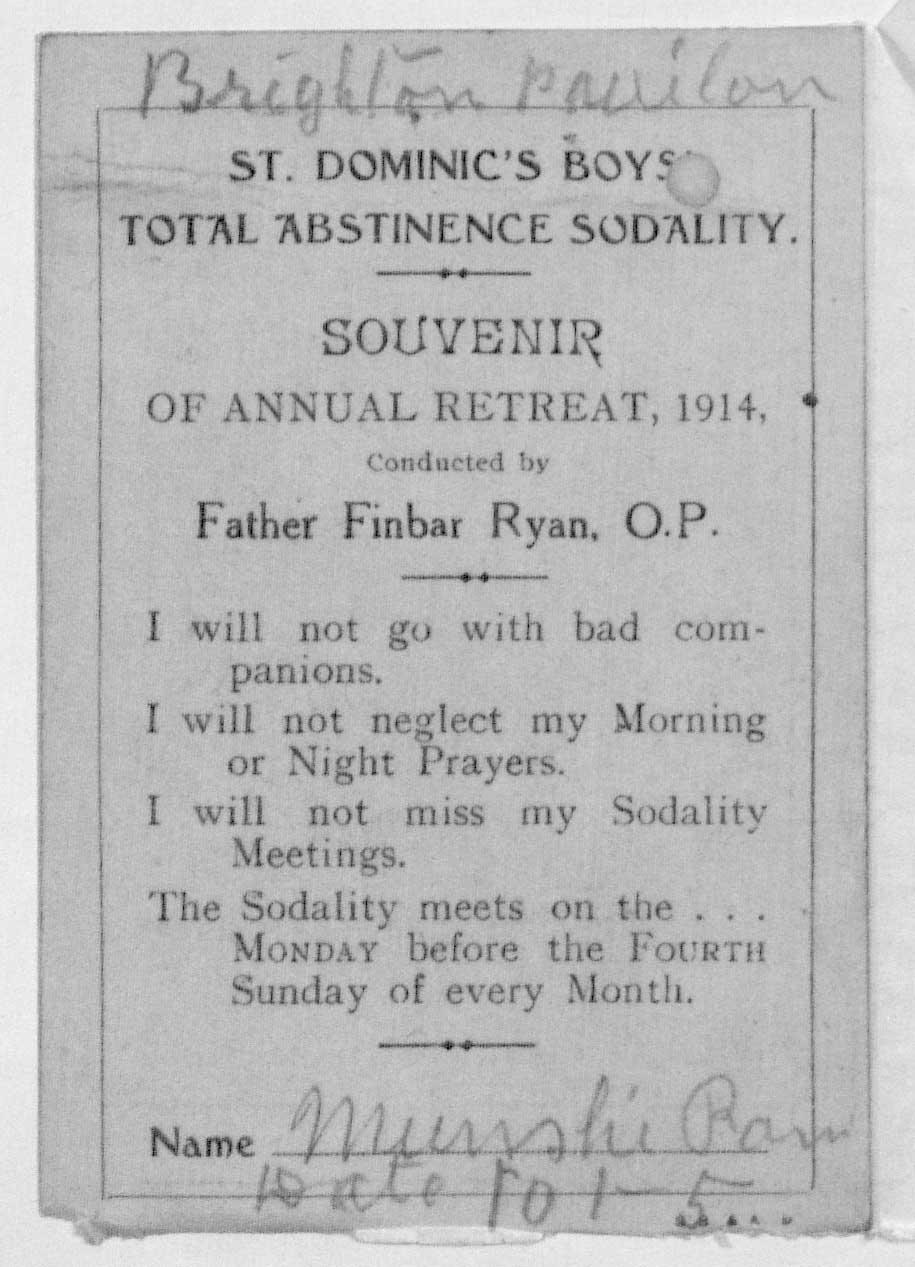 St Dominic's Boys Total Abstinence Sodality souvenir card