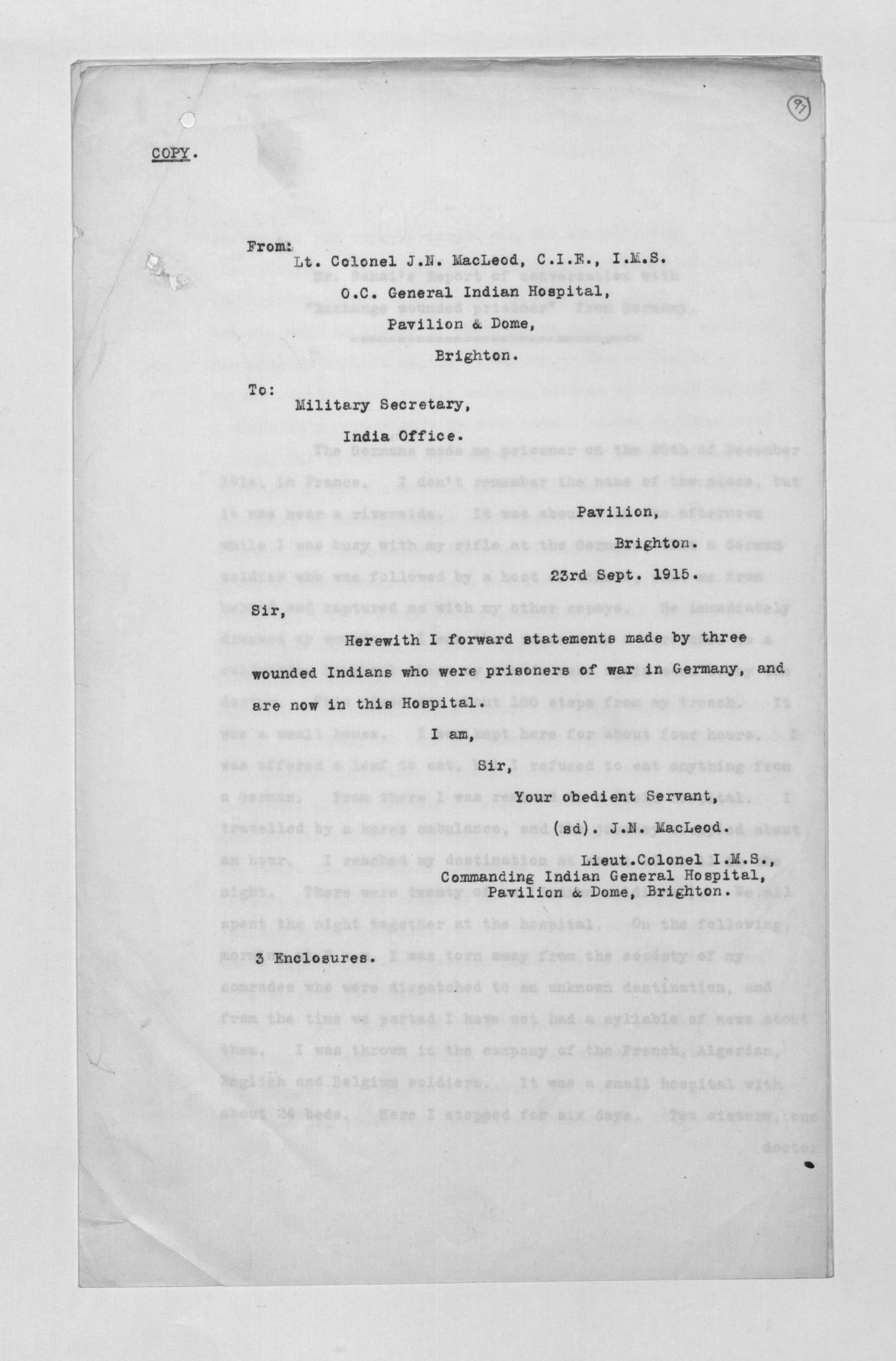 Statements by three wounded Indians who were prisoners of war in Germany 1914-1915 IOR/L/MIL/7/17276 ff.97-108