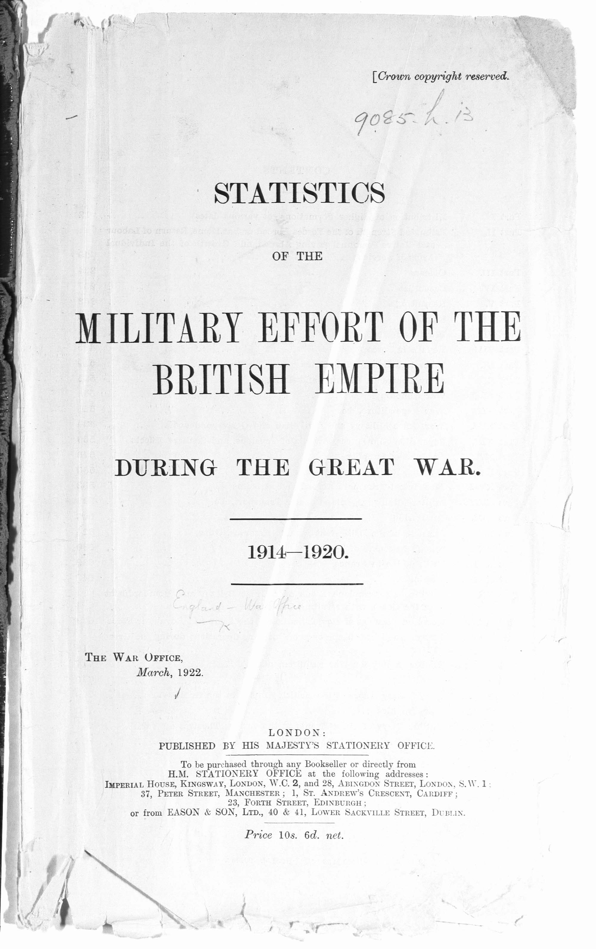 Statistics of the Military Effort of the British Empire during the Great War