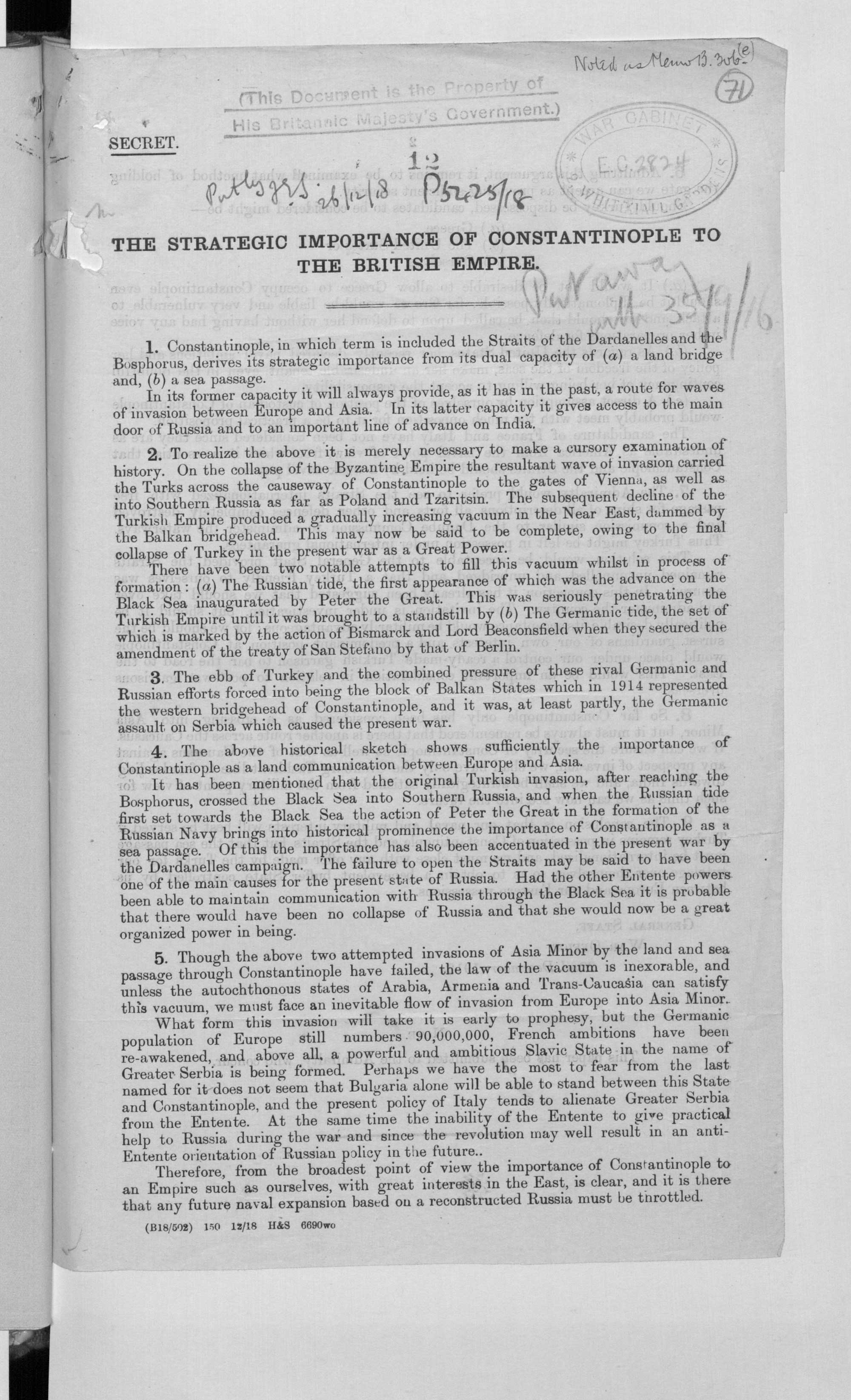 The strategic importance of Constantinople to the British Empire  General Staff, War Office, 22 December 1918 IOR/L/PS/10/623 f.71