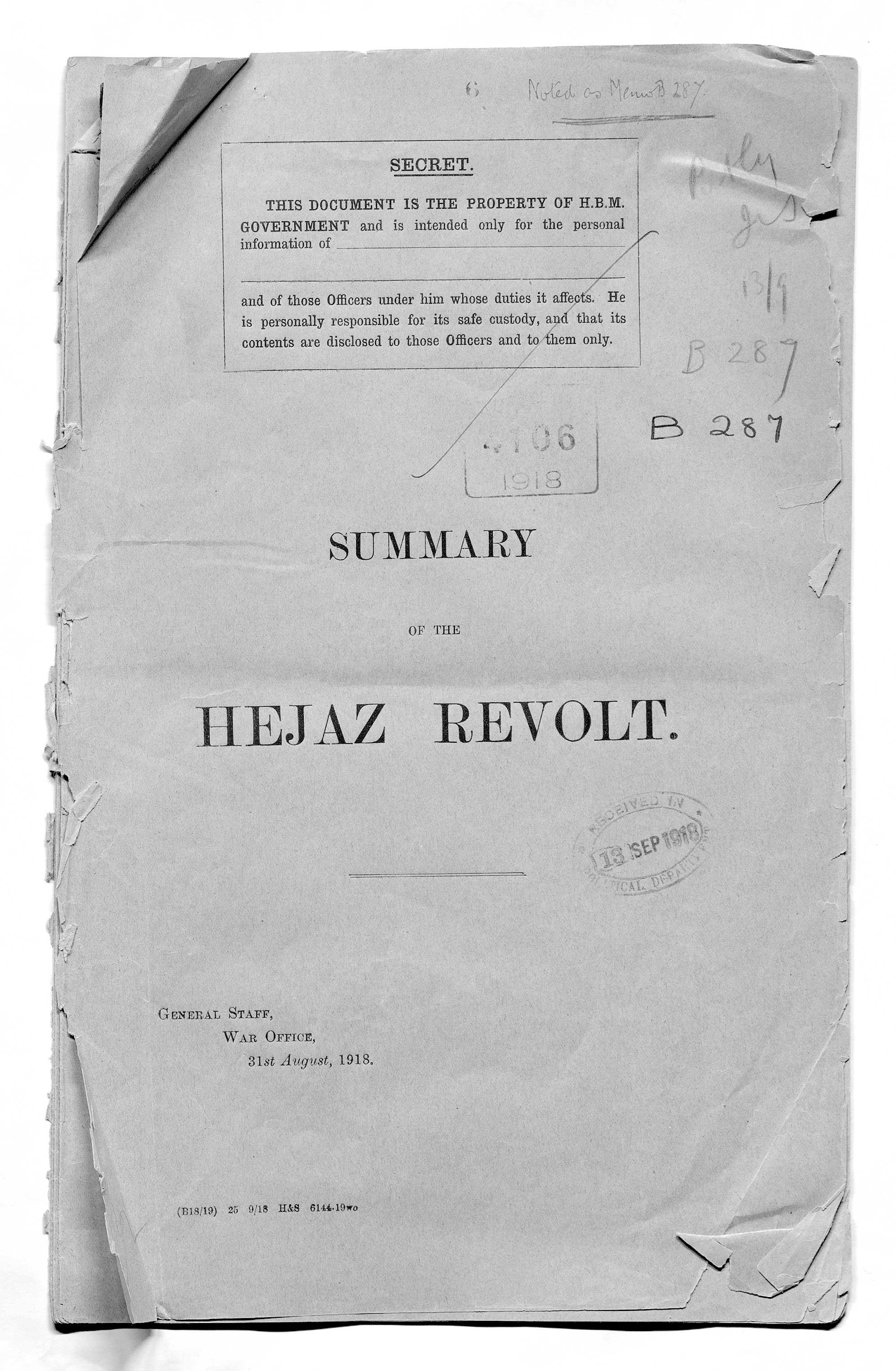 Summary of the Hejaz Revolt General Staff, War Office, 31 August 1918