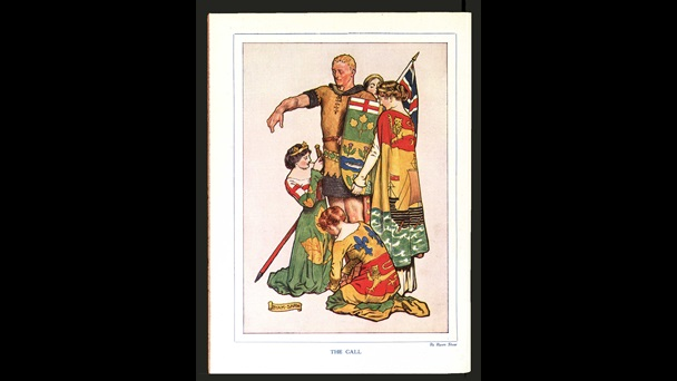 Illustration entitled 'The Call' depicting an idealised Canadian man having his uniform and weapons prepared for war by women representing the Provinces of Canada, 1916.