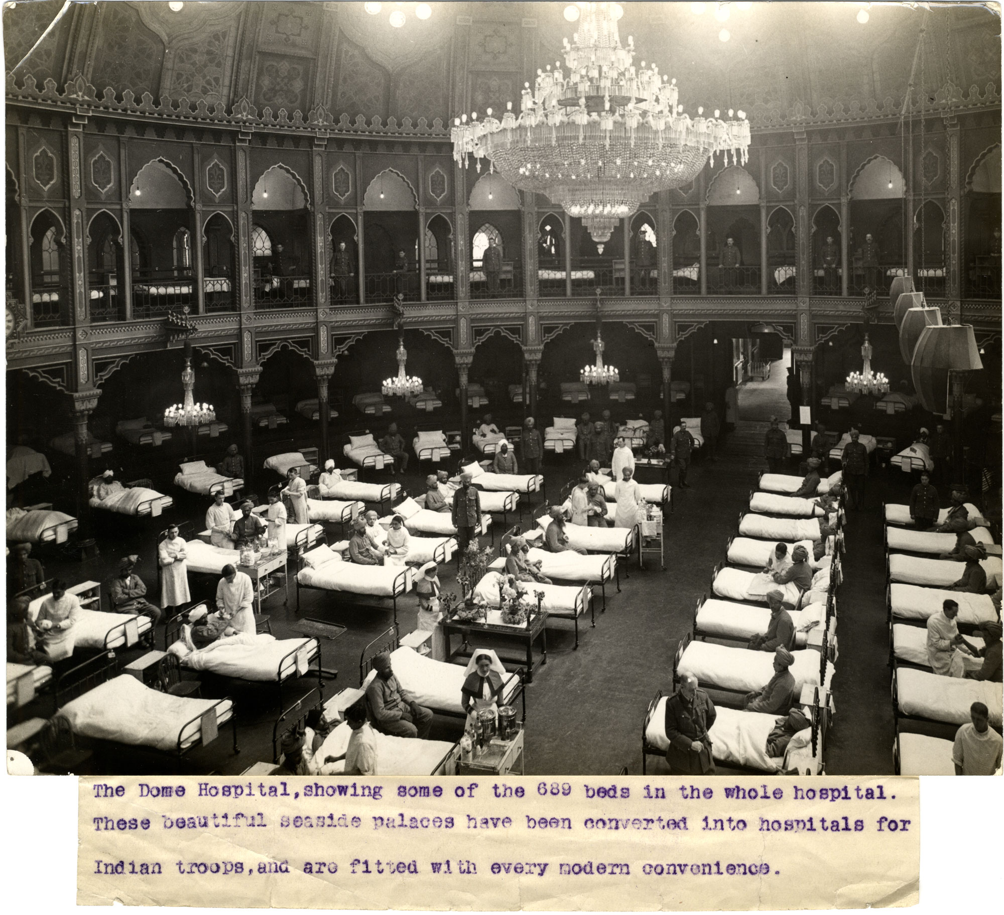The Dome Hospital in Brighton, which had 680 beds for wounded Indian soldiers.
