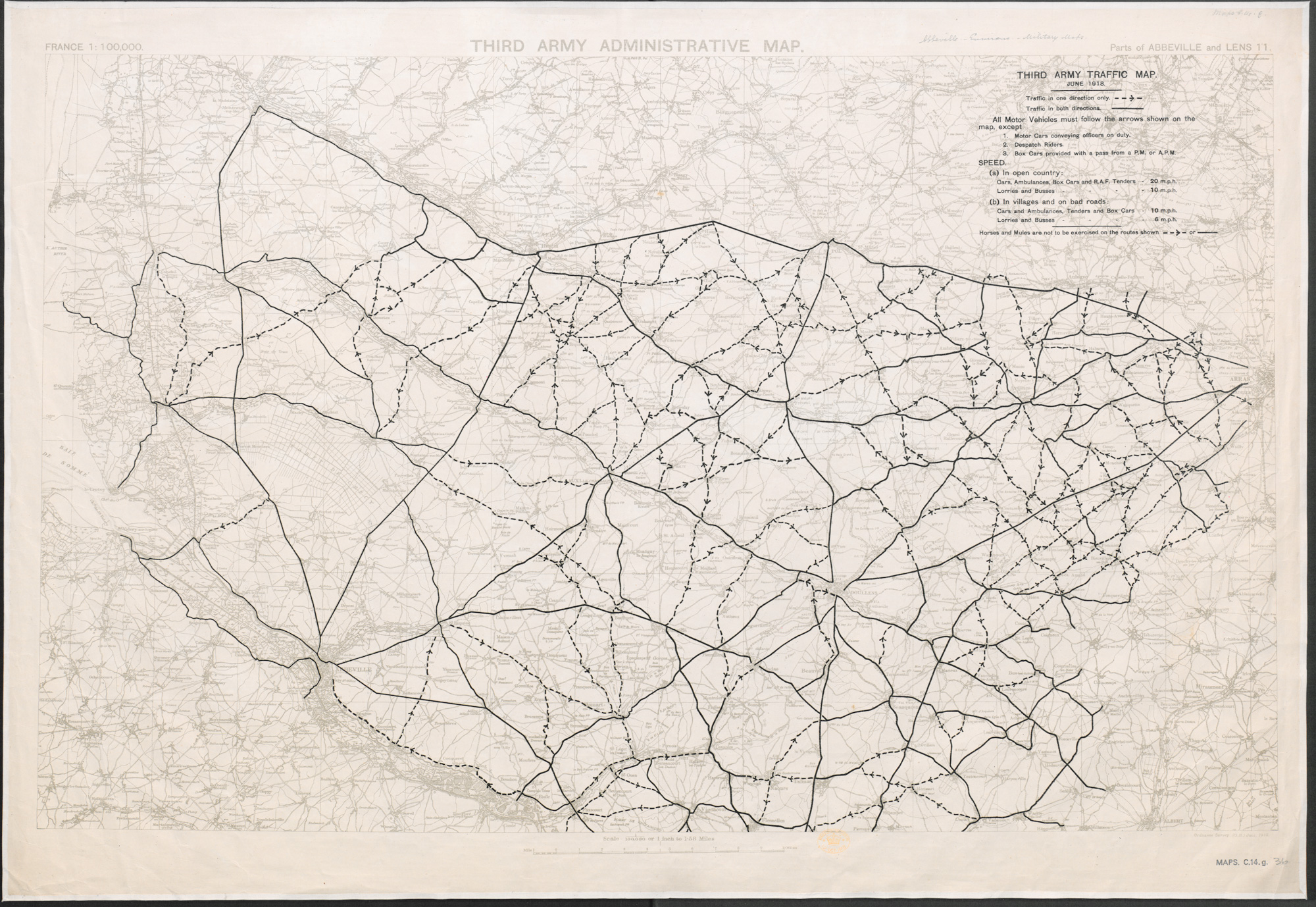 Third Army Traffic Map. June 1918.