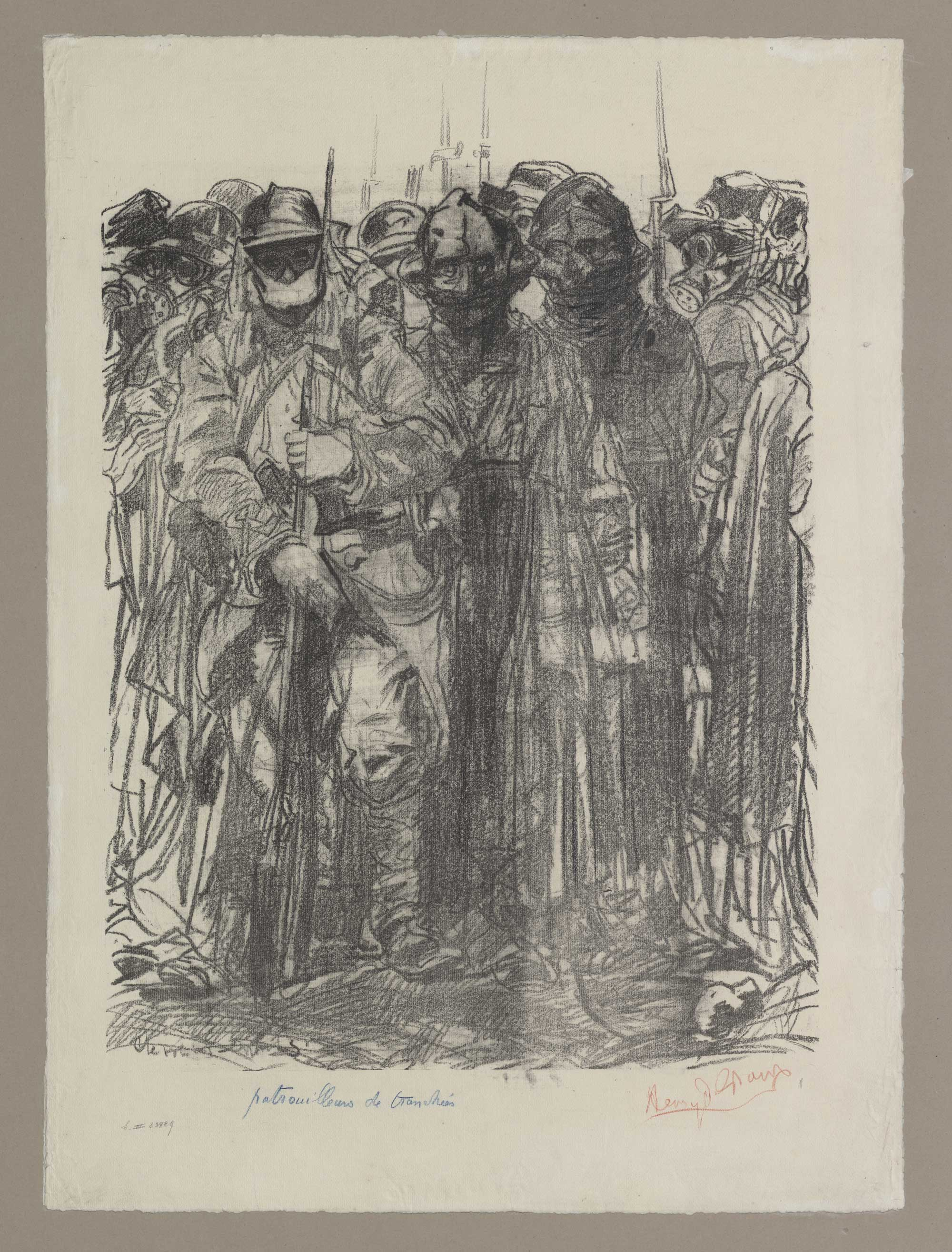 Lithograph showing soldiers with gas masks, by Belgian symbolist painter and sculptor Henry de Groux (1886-1930).