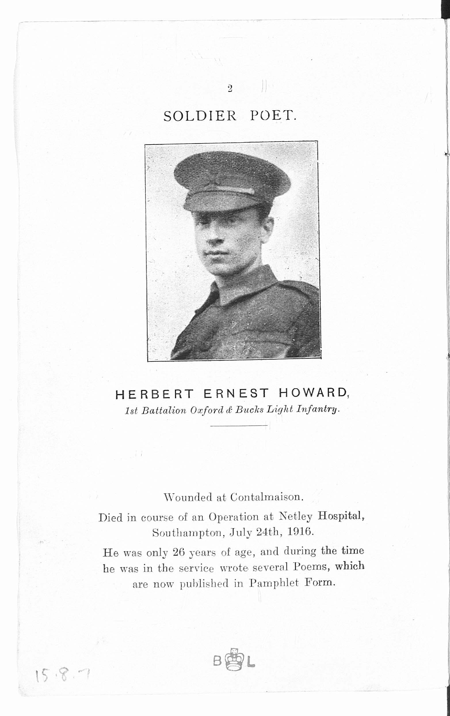 'Verses from the Trenches', a volume of poems by Private Herbert Ernest Howard, published after his death in July 1916.