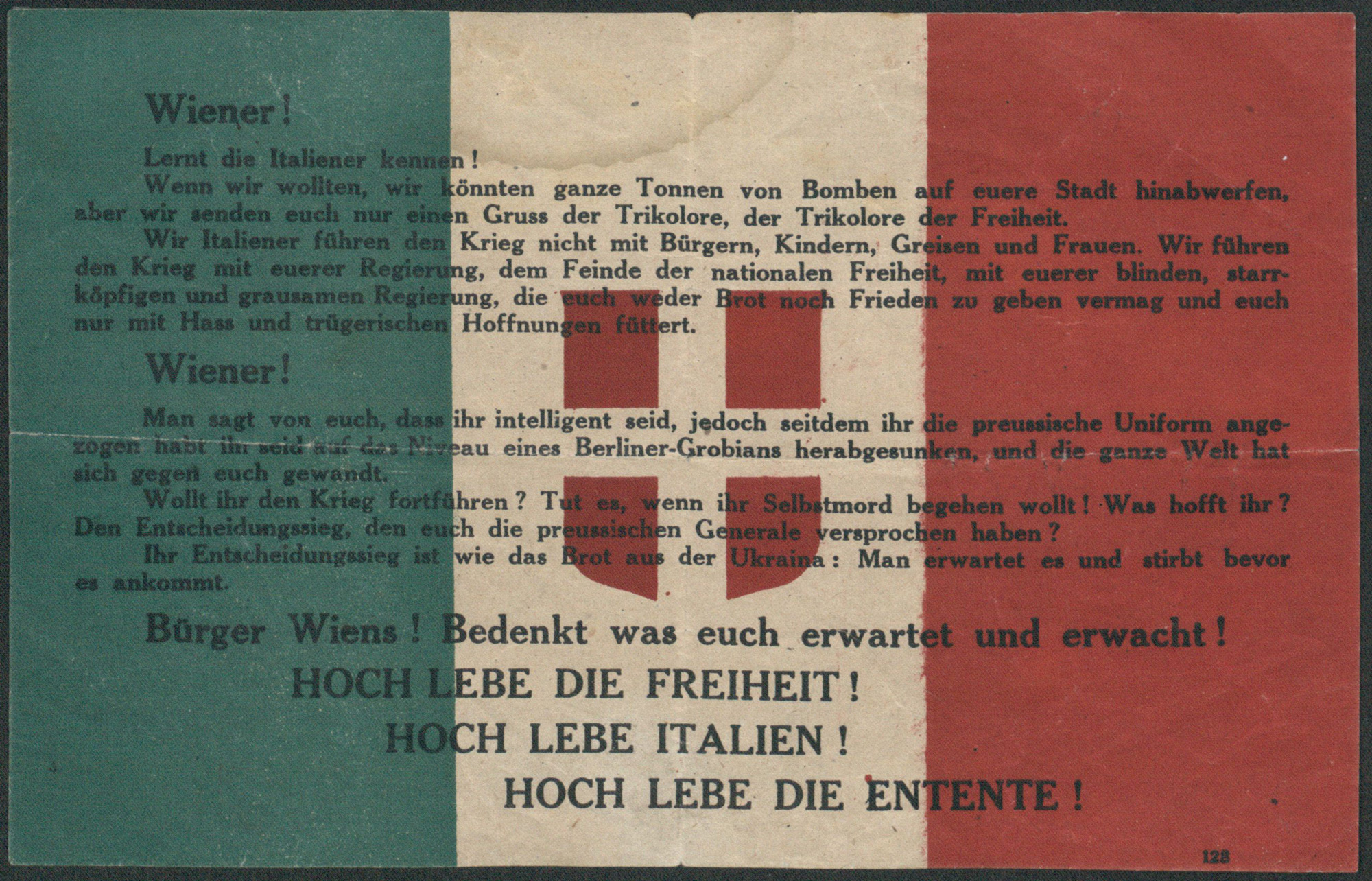 Example of a propaganda leaflet dropped by plane over Vienna on 9 August 1918 by the Italian writer Gabriele d'Annunzio. It states the social and political aims of Italy.