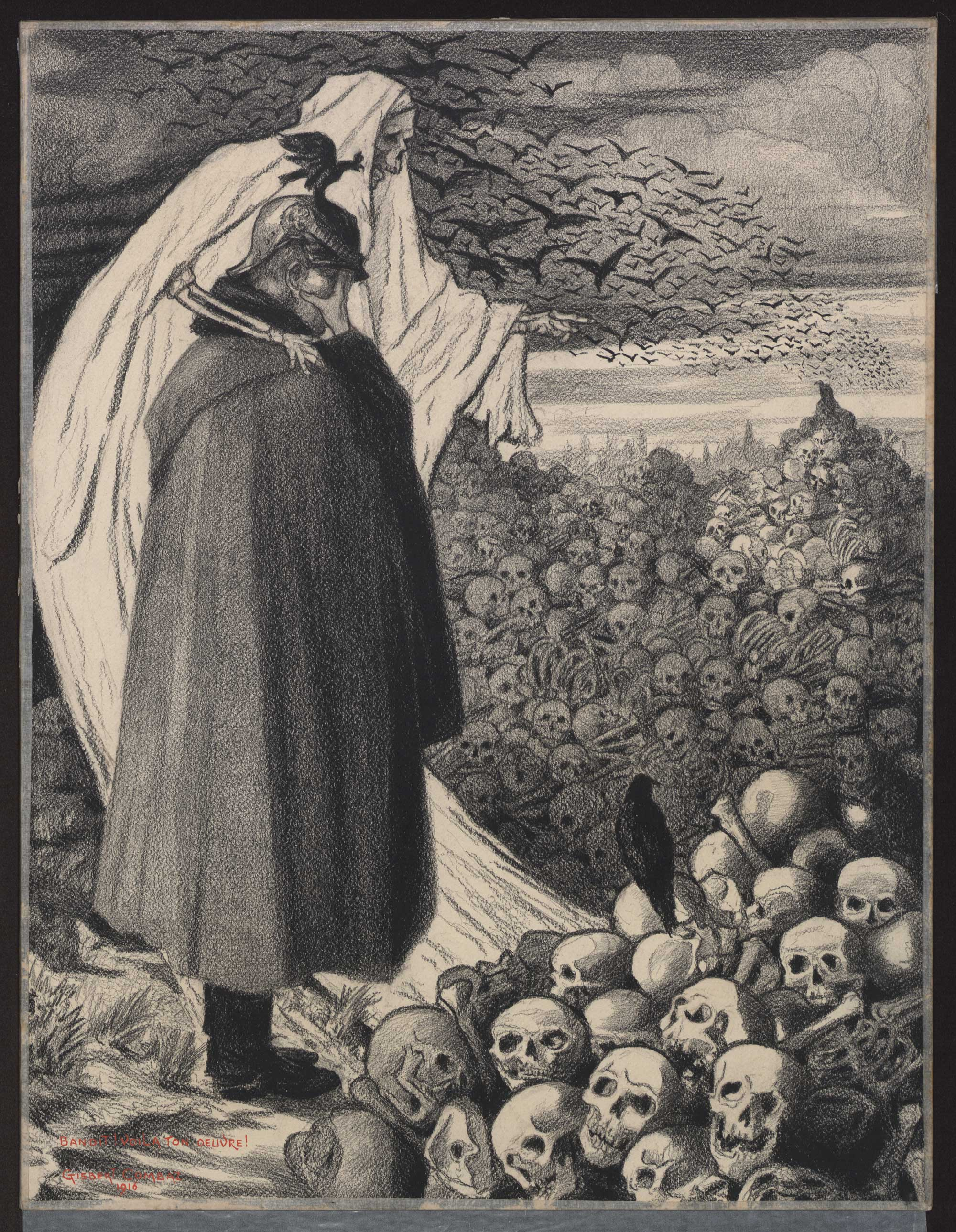 'Villain! This is your work!': lithograph by Belgian artist Gisbert Combaz (1869-1941). It depicts Death showing Emperor William II a mass grave.