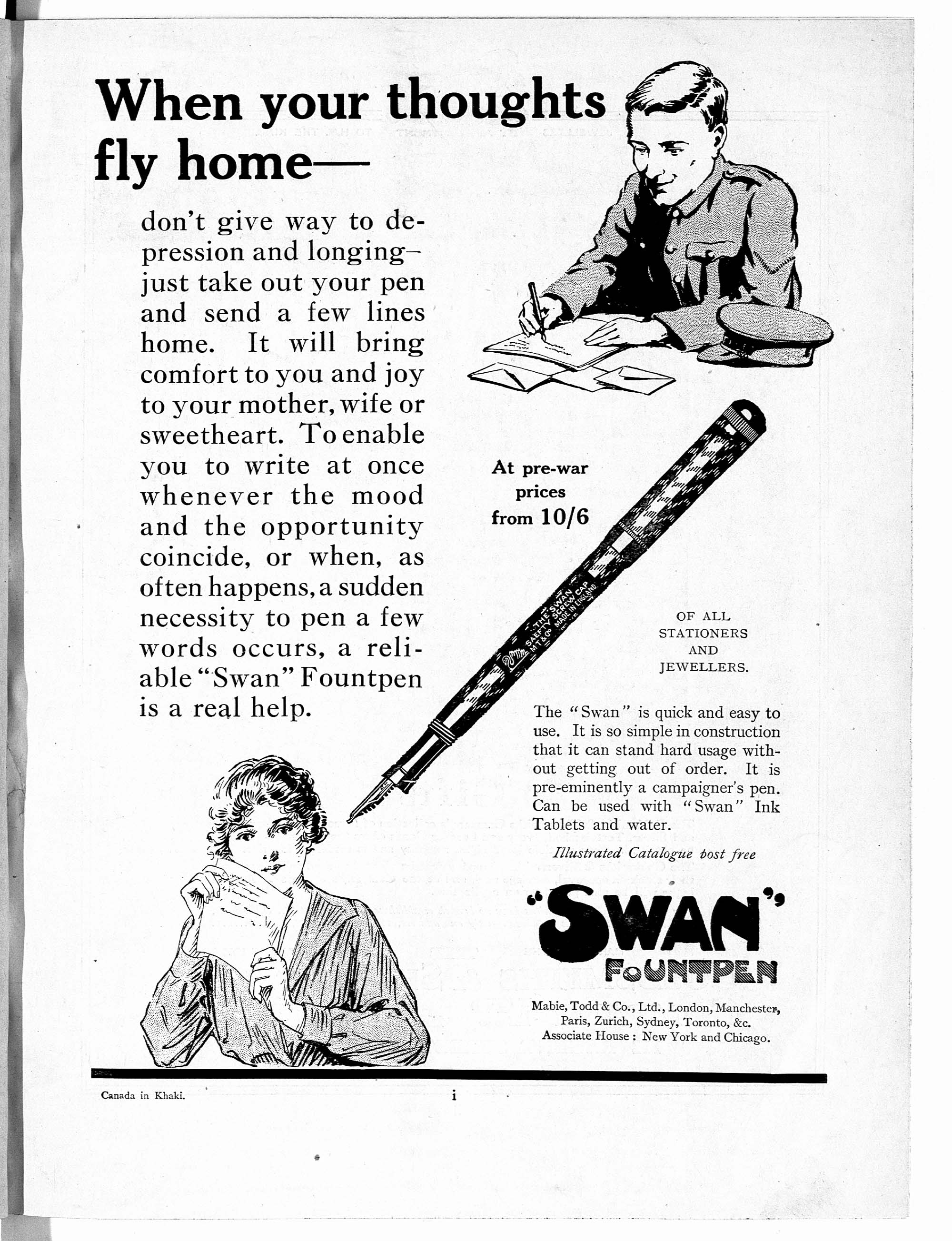 When your thoughts fly home - advert for Swan Fountpen
