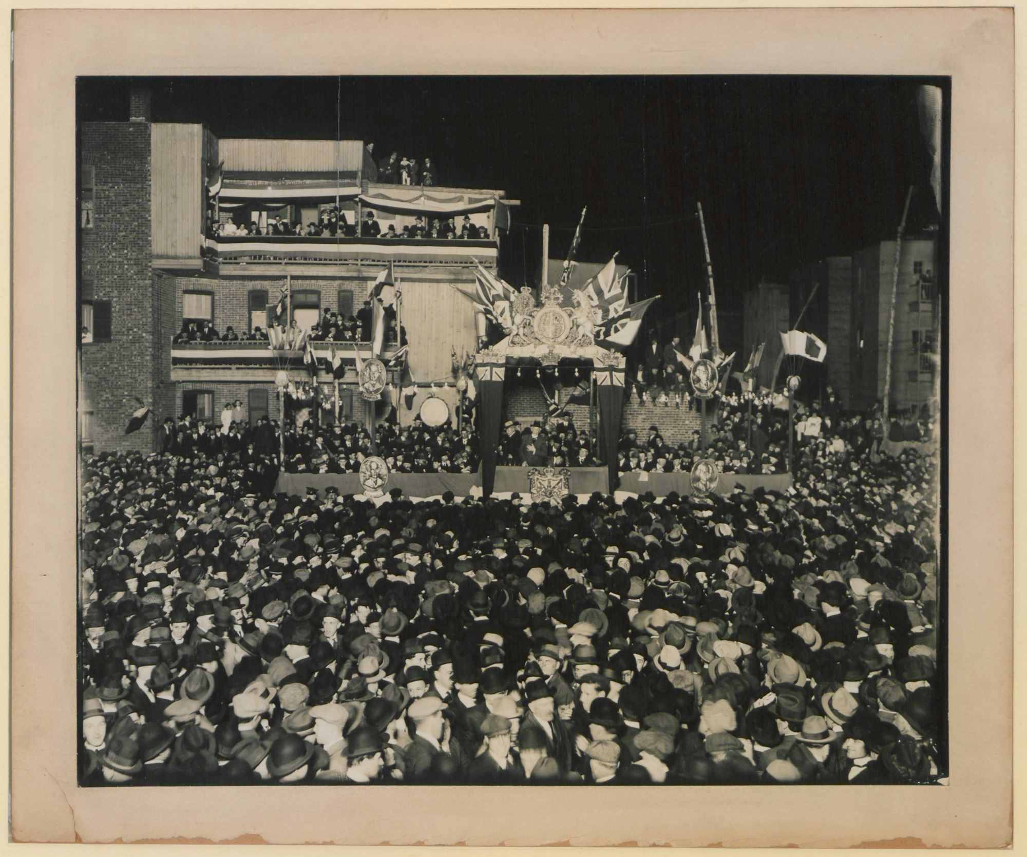 Photograph showing Wilfrid Laurier in Montreal, 1916. Laurier was Prime Minister of Canada from 1896-1911. As leader of the opposition, he supported Canada's participation in the war.
