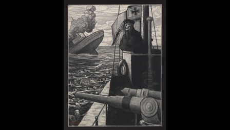 'Without mercy': lithograph by Belgian artist Gisbert Combaz (1869-1941). It shows Death as a German commander on the turret of the submarine that torpedoed the Lusitania.