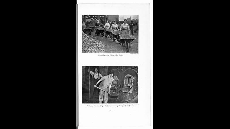 Photographs of women carrying wheelbarrows of coke and shovelling coal into a factory furnace, from Women's War Work in maintaining the industries & export trade of the United Kingdom