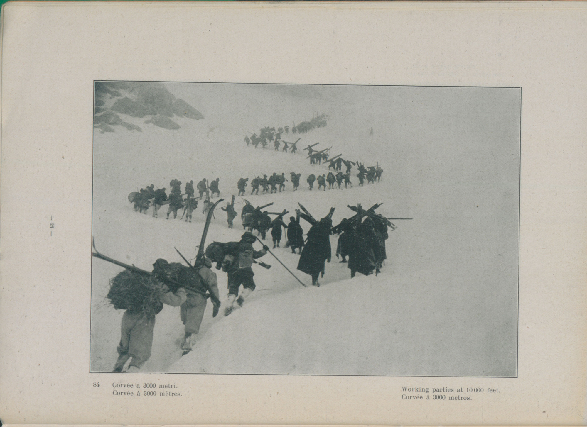 Photograph, 1916, showing members of the Italian alpine troops climbing at 3000 metres, equipped with skis and sealskin to aid movement through the snow.