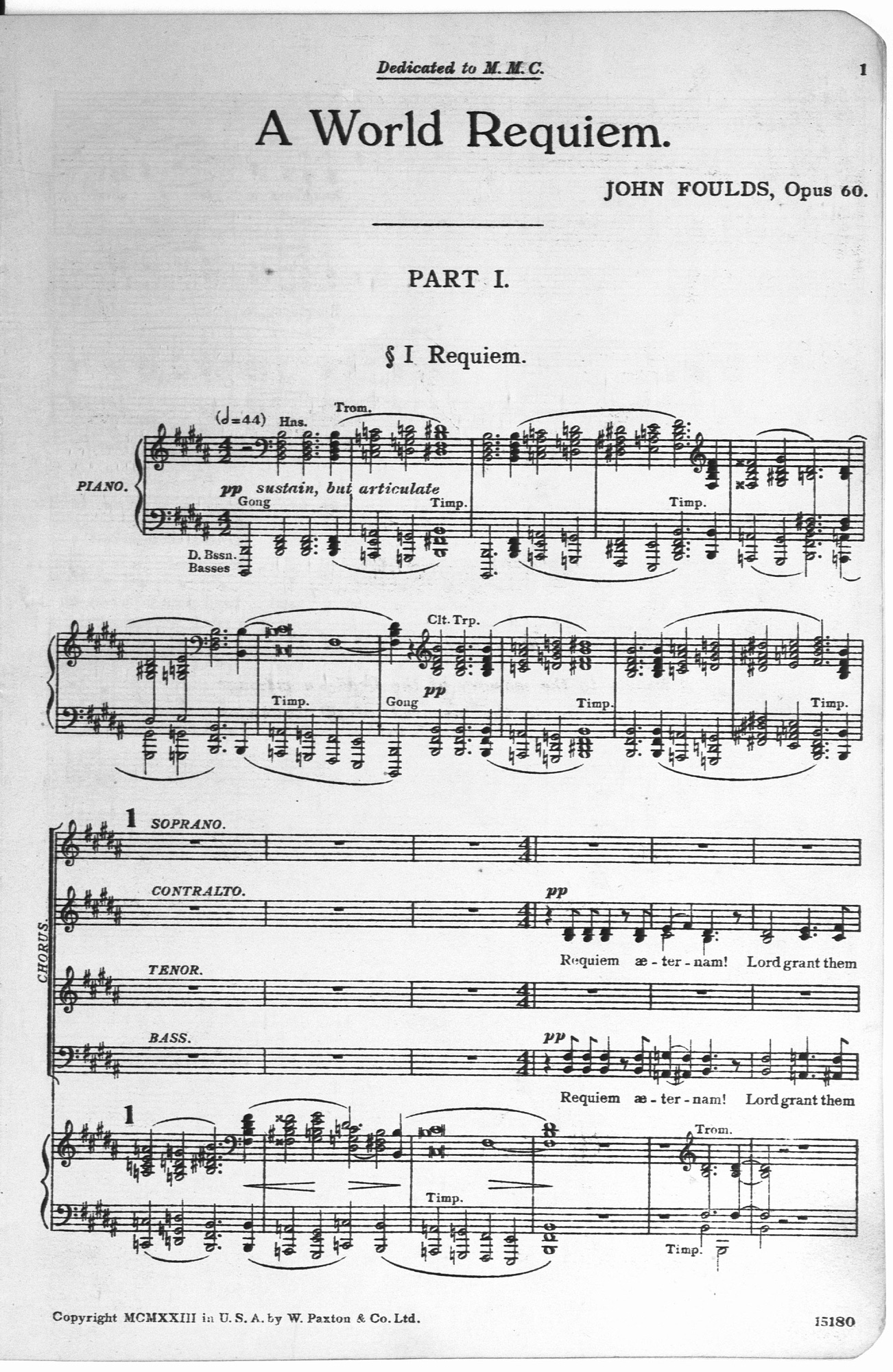 John Fould's 1919-1921 composition A World Requiem designed to be a musical memorial for the dead.