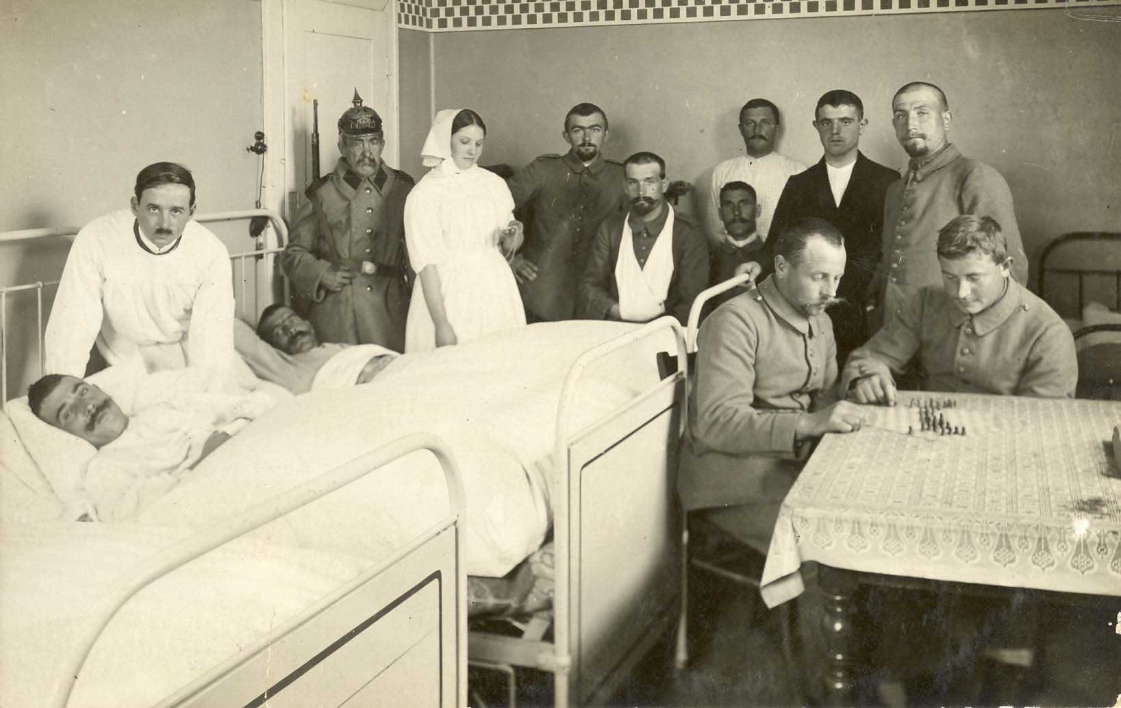 Wounded soldiers in a military hospital in Strasbourg during the war
