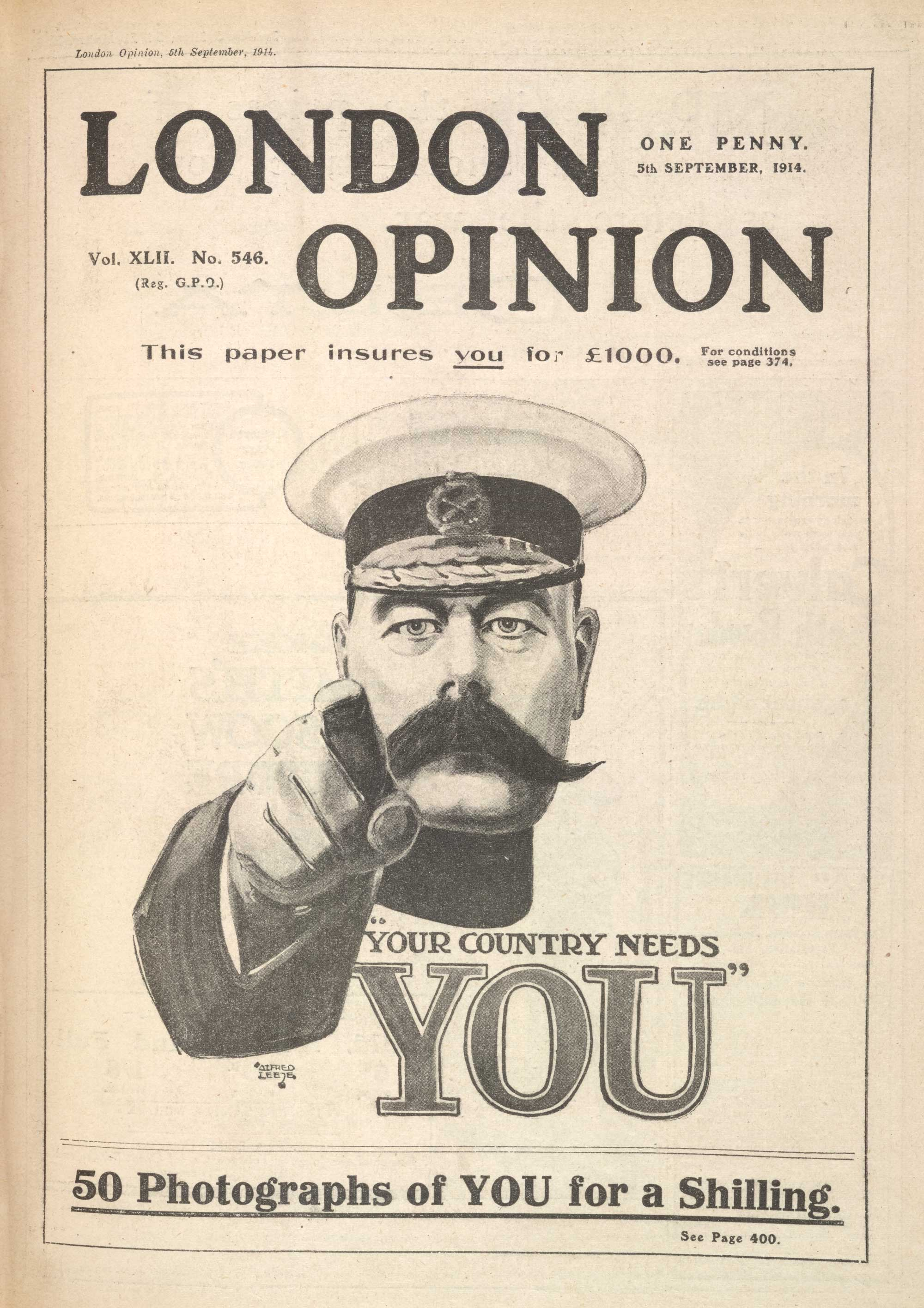 Famous Lord Kitchener recruitment poster, 'Your country needs you', produced in September 1914.