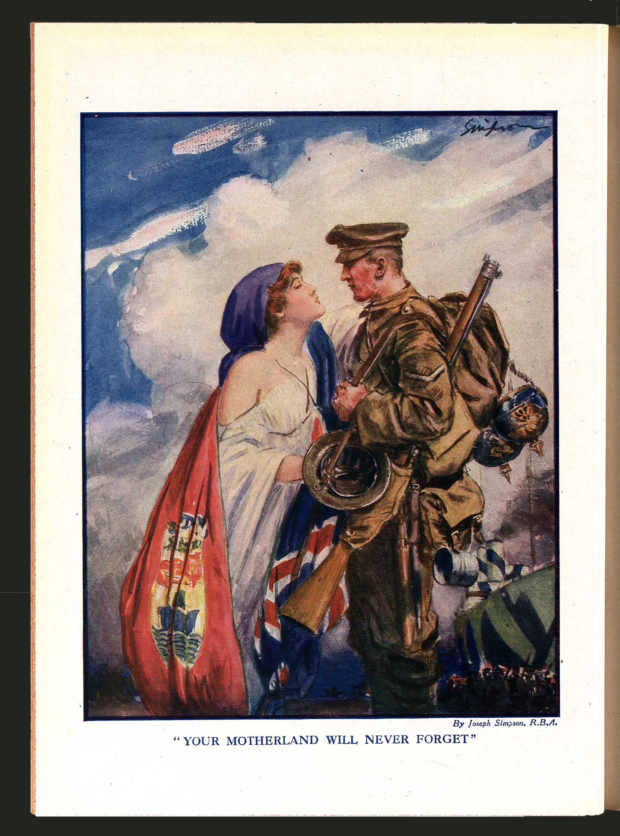 Illustration from 'Canada in Khaki', a journal published to celebrate Canadians' actions on the Front and raise money for the Canadian War Memorial Fund.