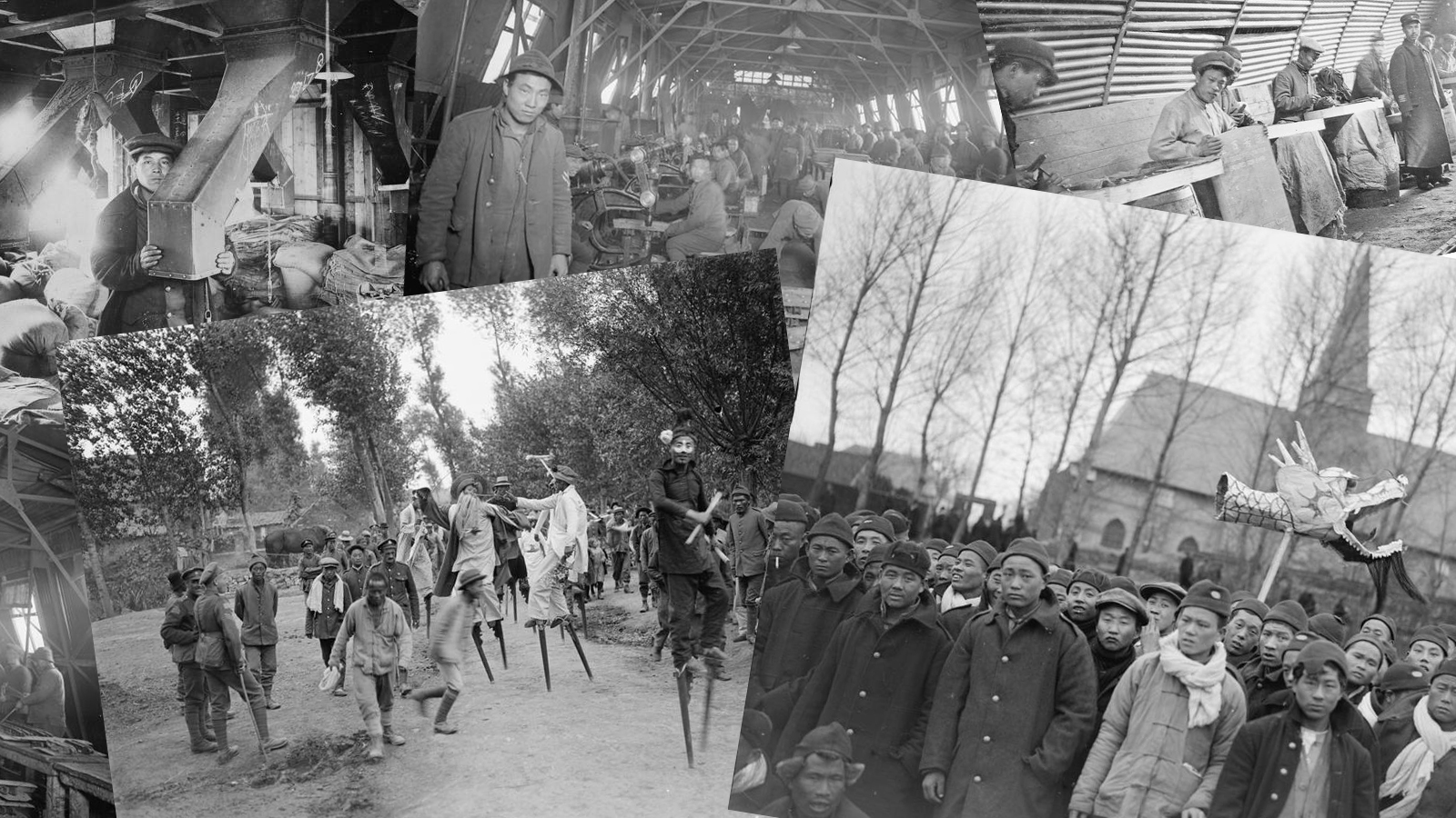 Collage of photographs showing Chinese presence in France during the First World War