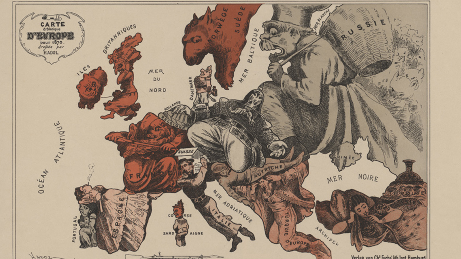 Origins banner crop showing two satirical maps of the Europe