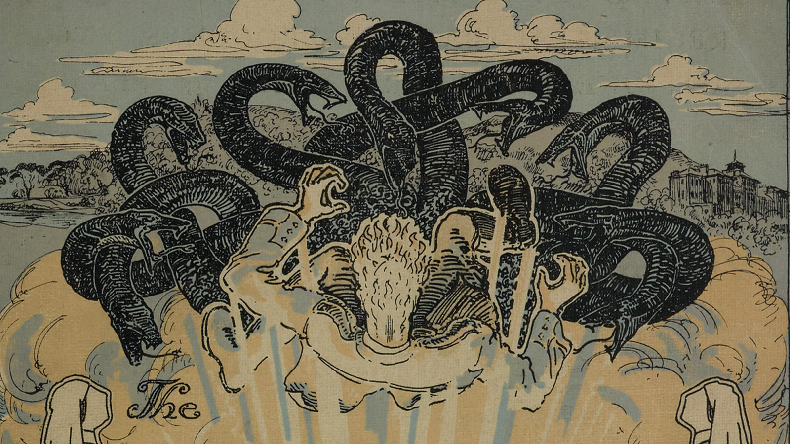 Banner for Shell shock article taken from The Hydra front cover. Shows an illustration of a soldier being attacked by a mythical beast (the hydra), alludes to psychological damage.
