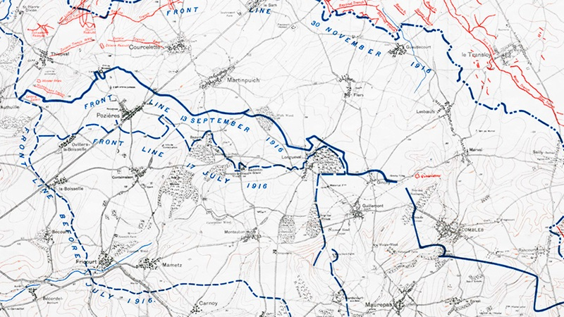 Crop of map used in the Battle of the Somme, with lines showing the advance and defence