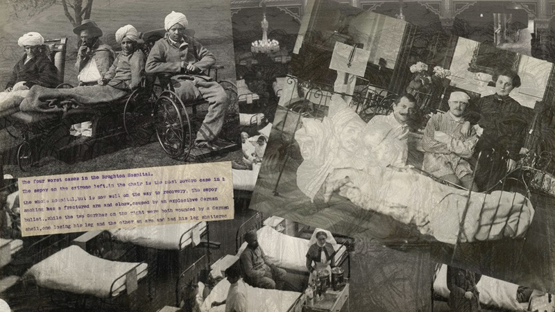 Collage of photographs and illustrations depicting wounded soldiers in the first world war