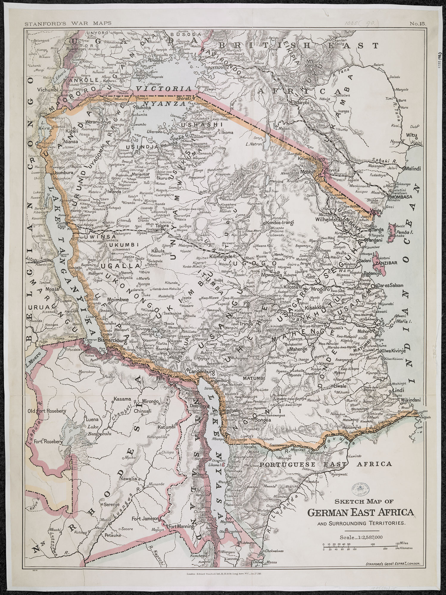 Stanfords war maps showing German East Afric