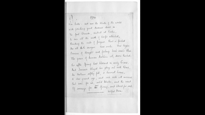 Manuscript Drafts of Wilfred Owen's poetry