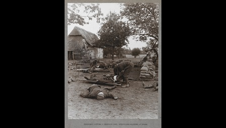 Photograph of stretcher bearers at work