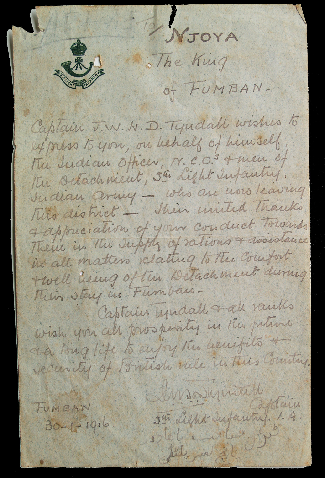 Letter from engineer in West African Frontier Force to King Njoya