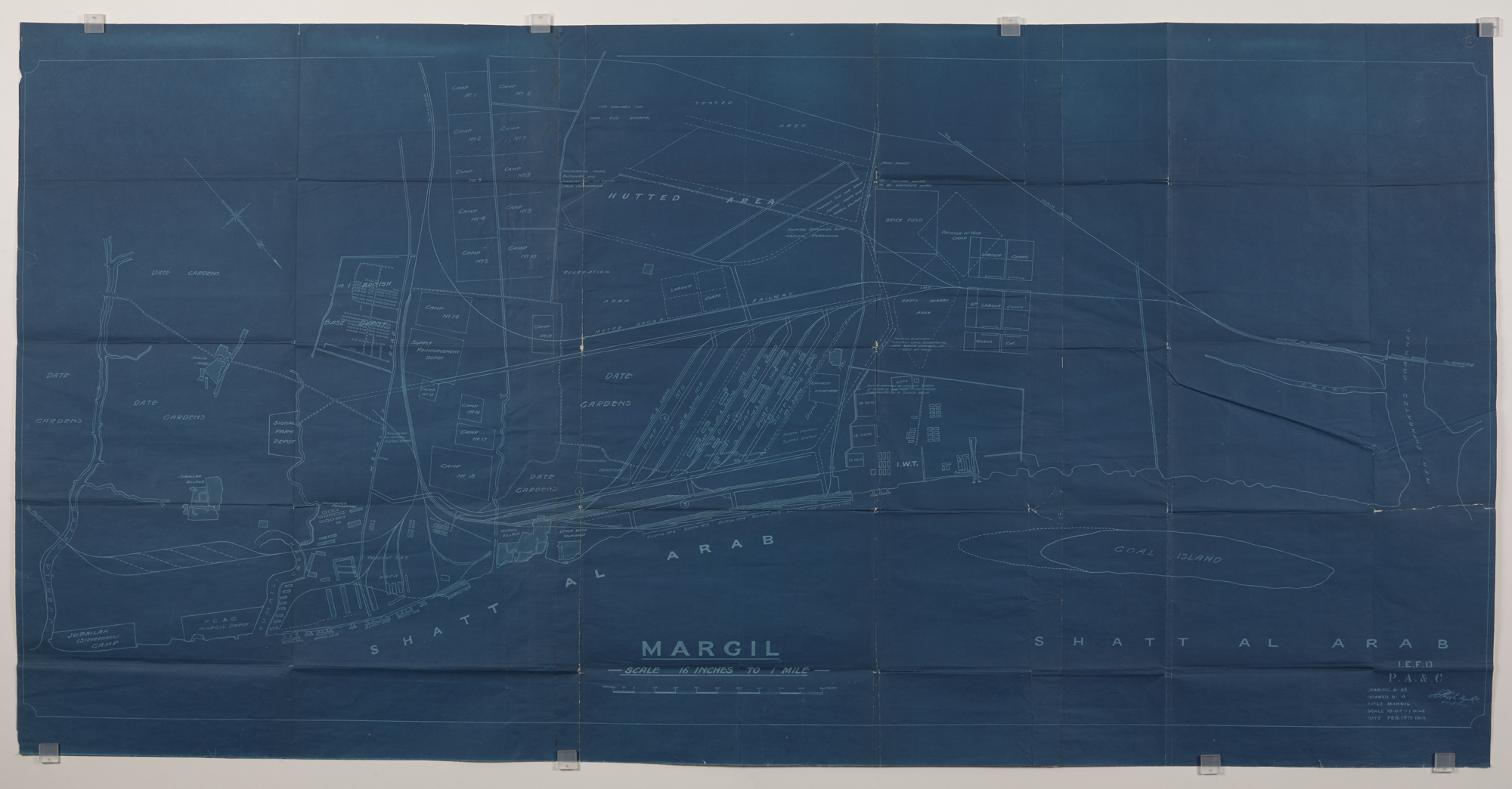 Map of Shatt-Al Arab at Margil, near Basra, Mesopotamia showing a Chinese Labour Corps cemetery
