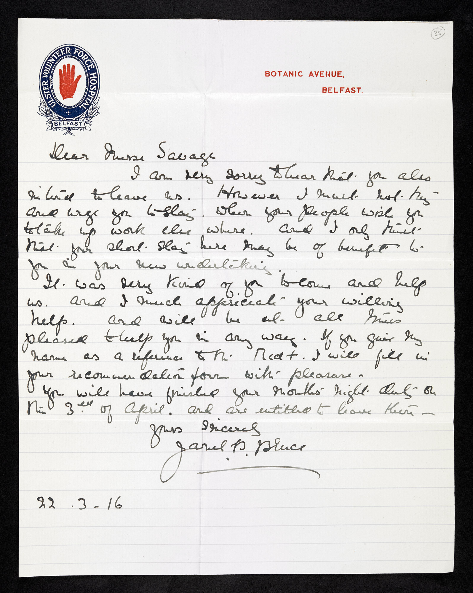 Letters to VAD nurse Rose Mary Savage. Often from patients and former colleagues